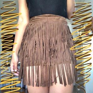 Forever 21 Brown Mini Fringe Skirt